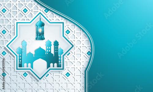 Greeting card template islamic vector design for Eid Mubarak\