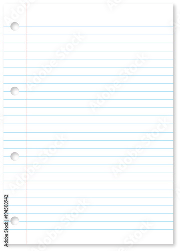Blank white paper sheet background with blue lines, margin and holes
