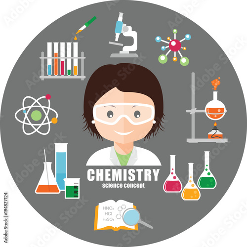 Smiling scientist in safety glasses and chemical equipment - chemistry safety