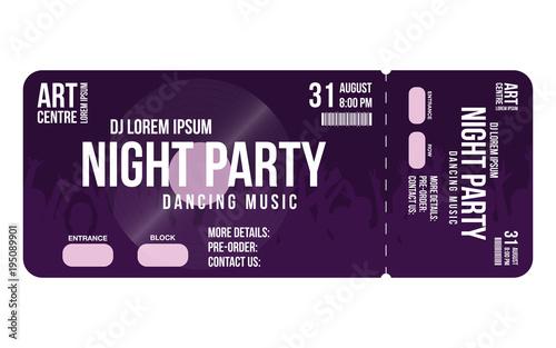 Concert ticket template Concert, party or festival ticket design