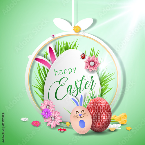 Happy easter image vector Modern happy Easter background with - easter greeting card template