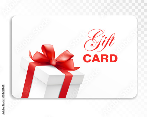 Gift card with gift box and red bow Holiday card template Vector