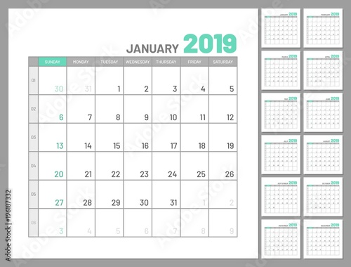 Set identical planners, 2019, January separately, flat, template - important dates template