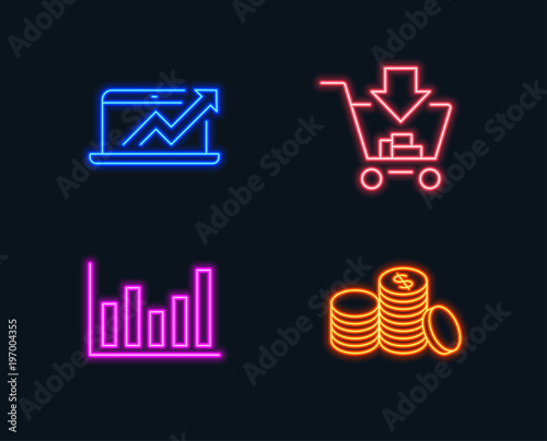 Neon lights Set of Column chart, Sales diagram and Shopping icons
