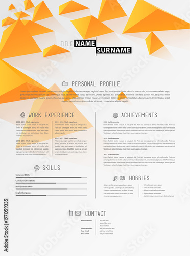 Creative simple cv template with orange triangles in header\