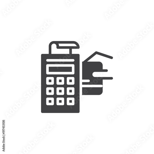 POS terminal with credit card and receipt vector icon filled flat