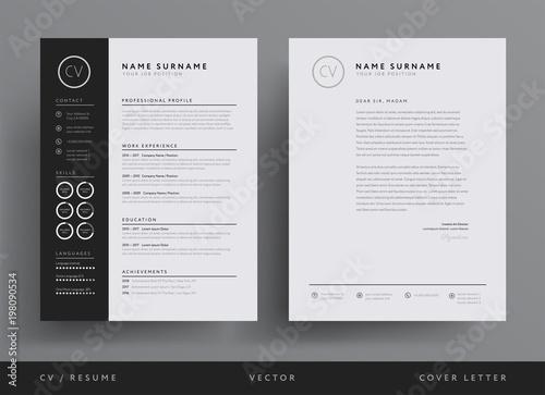 Professional CV resume template design and letterhead / cover letter