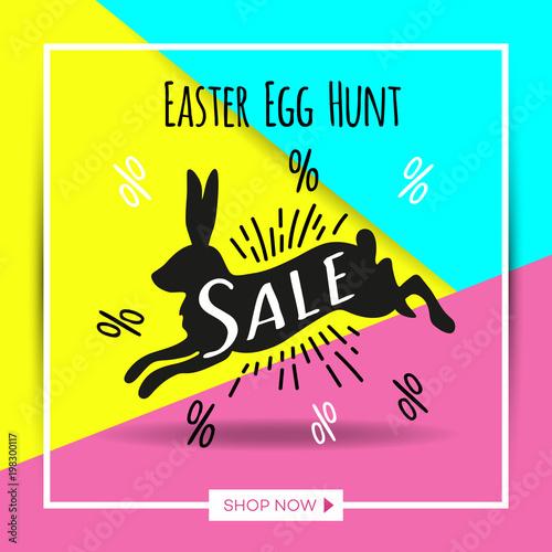 Easter egg sale banner background template Vector illustration for