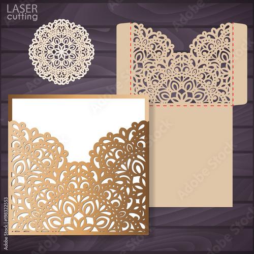 Wedding Card Envelope Template | Die Laser Cut Wedding Card Vector Template Invitation