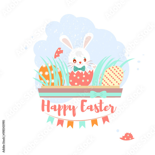 Colorful sweet Happy Easter greeting card with banny, rabbit, eggs