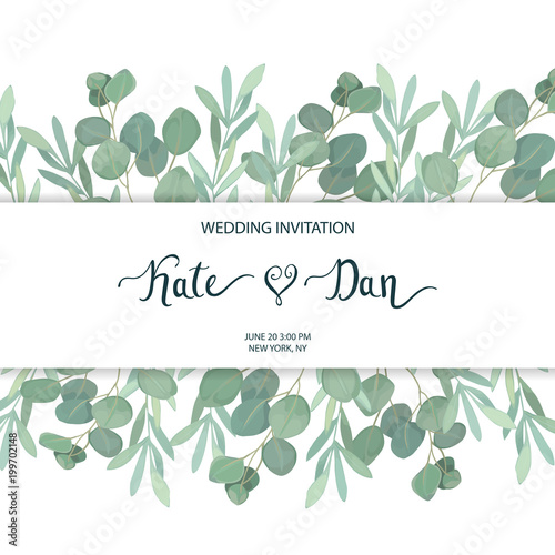 Floral greenery card template with eucalyptus branch For wedding - save the date birthday template