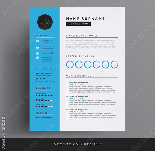 CV / resume design template blue color minimalist vector - modern