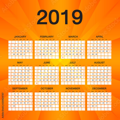 Simple calendar for 2019 Year, Week Starts Sunday, Orange flyer