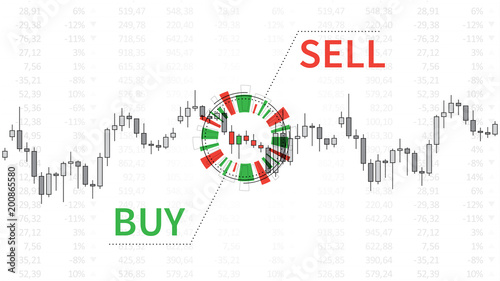 Stock market chart with graphic elements vector illustration
