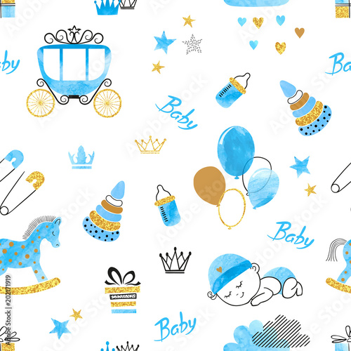 Baby Shower Boy seamless pattern Vector watercolor kids background