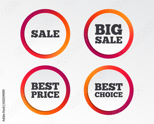 Sale icons Best choice and price symbols Big sale shopping sign