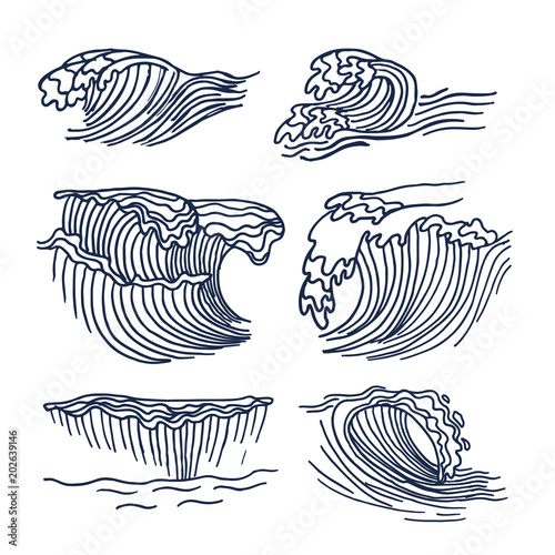 Drawing sea or ocean waves Cute sketch of big waves element