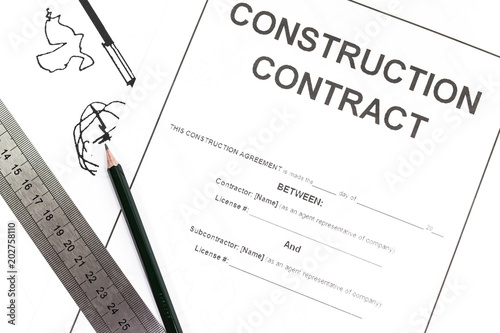 Close - up Blank construction contract paper\