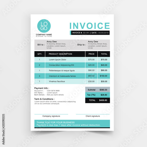 Invoice template vector design Blue minimal quotation design