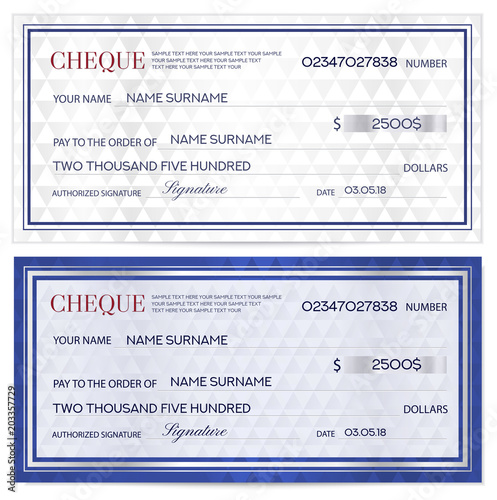Check (cheque), Chequebook template Abstract pattern with watermark - money coupon template
