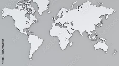 Cartina mondo bianca, cartina geografica, cartografia, atlante - cartina mondo