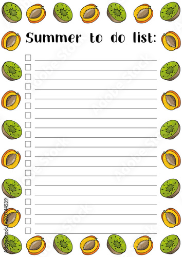 Summer to do list, cherries and blueberry with leaves, printable