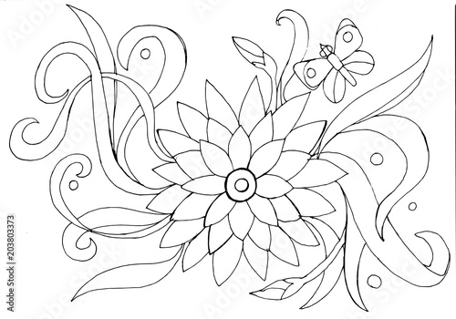 Outline drawing of a flower and butterfly for coloring\