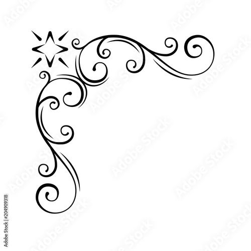 Decorative swirl floral corner Calligraphic design element, page