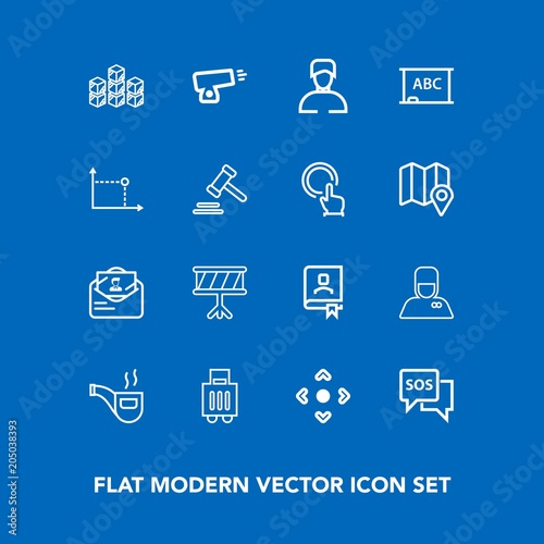 Modern, simple vector icon set on blue background with hospitality - mail background