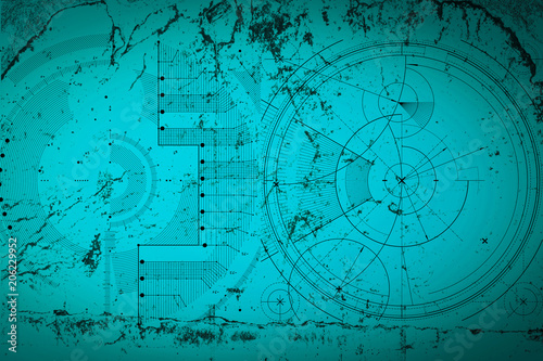 Abstract grunge futuristic cyber technology background Sci-fi