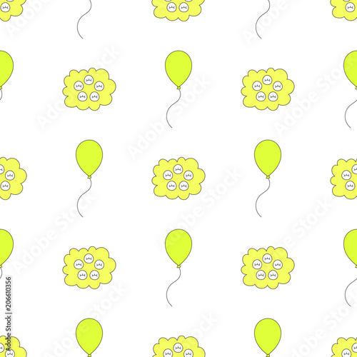 Seamless baby pattern with balloon and cloud face Best Choice for