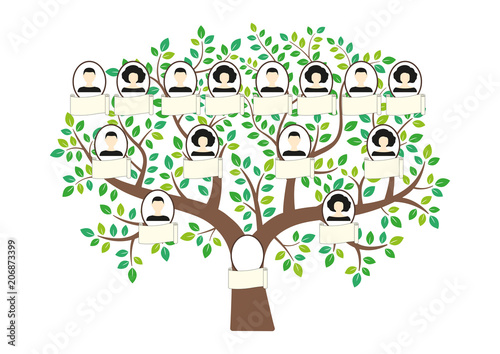 Family tree and nameplate Vector illustration man and woman profile