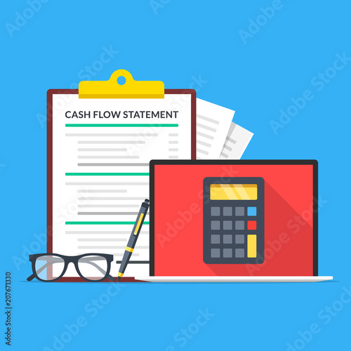 Cash flow statement Laptop with calculator on screen, glasses, pen