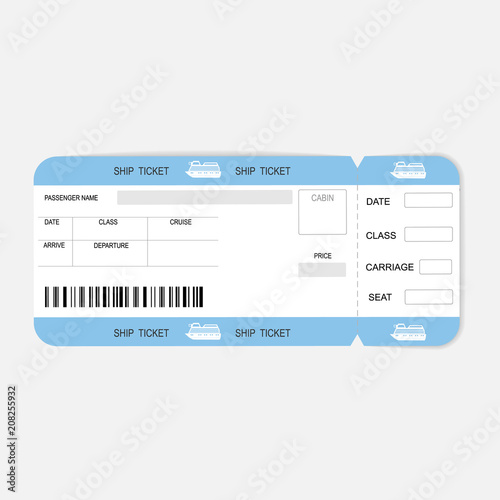 Sea cruise ship boarding pass or ticket template\