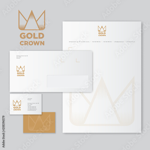 Gold Crown logo and identity Envelope, letter with watermarks and