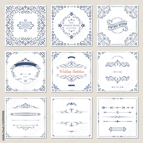 Ornate frames design and scroll elements set Flourish cards and