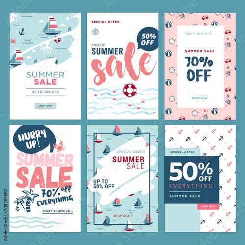 Set of mobile summer sale banners Vector illustrations of online