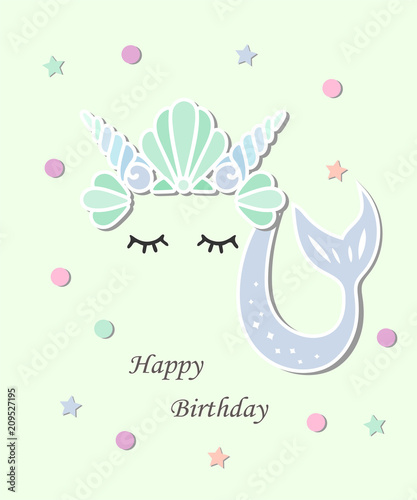 Vector illustration with Mermaid tail, sea shell crown Mermaid as