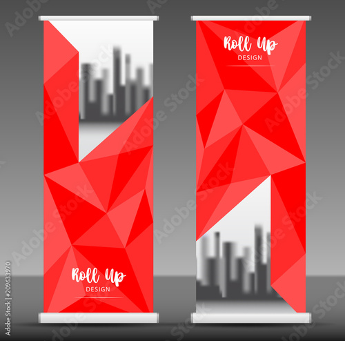Roll up banner template vector, stand, pull up, display, flag-banner