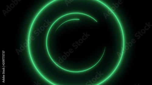 Neon rings Abstract background with animation of rotation circles