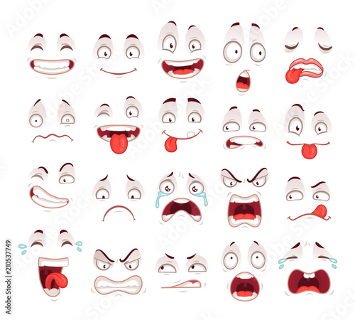Cartoon faces Happy excited smile laughing unhappy sad cry and