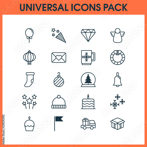 Holiday icons set with mug, diamond, snowflakes and other