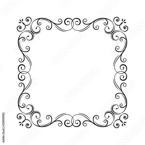 Flourish vintage frame Filigree page border Swirls, curls