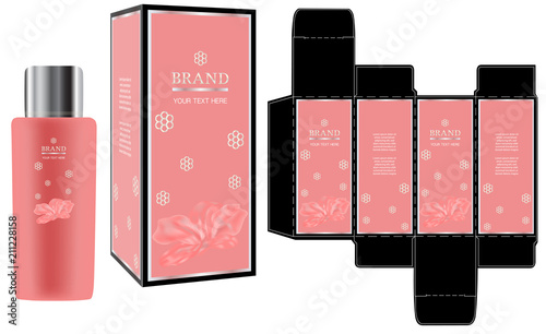 packaging design, label on cosmetic container with luxury box design