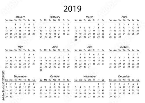 Calendar 2019 Calendar grid 2019 year black on white background