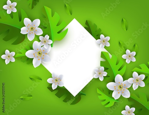 Green tropical leaves with white flowers frame, background template - green photo frame