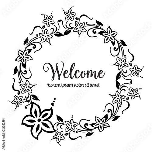 Welcome Greeting Cards Template with floral ornament concept Floral