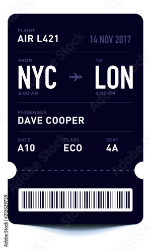 E-Ticket or Boarding Pass Card Template with Bar Code Flight Ticket