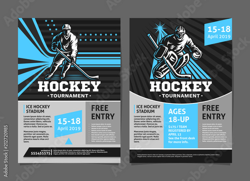 Hockey tournament posters, flyer with hockey player and goalie