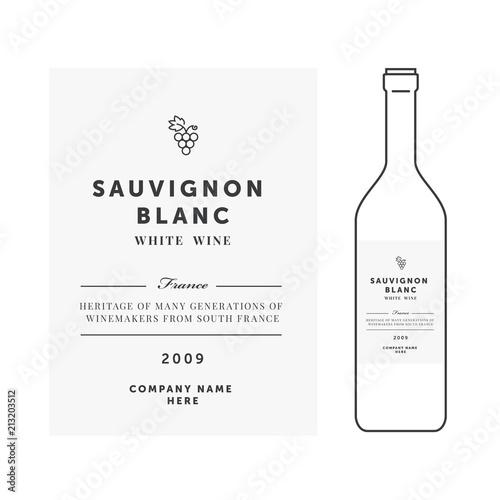 White wine label Vector premium template Clean and modern design